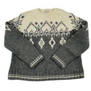 90s J. Crew Hand Knit Wool Fair Isle Sweater